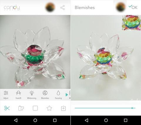 キャンディカメラ ― 自撮り、サイレント、フィルターカメラ:編集加工画面(左)ビューティー機能画面(右)
