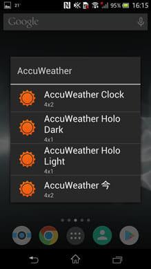 AccuWeather 天候:ウィジェットは4種類(機能は3種類+カラバリ1)