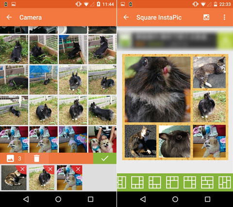 Square InstaPic - No Crop HD:写真選択画面(左)写真枠選択画面(右)