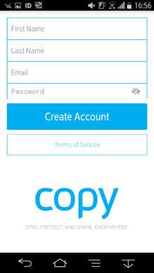 Copy:アカウント入力画面