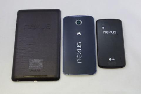 Nexusシリーズでのサイズ比較
