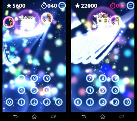 ゲームで暗算&脳トレ!HAMARU 究極の算数・計算アプリ!:正解すると式が花火のように弾ける(左)コンボの演出も派手(右)
