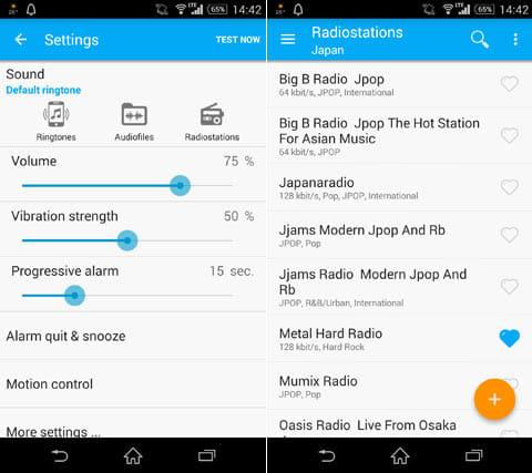 Radio Alarm Clock - PocketBell:設定画面(左)好みのラジオ局を選択しよう(右)