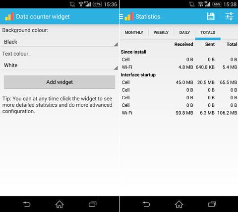 Data counter widget:ウィジェットの背景色や文字色を選択(左)各種通信量をひと目で確認できる(右)