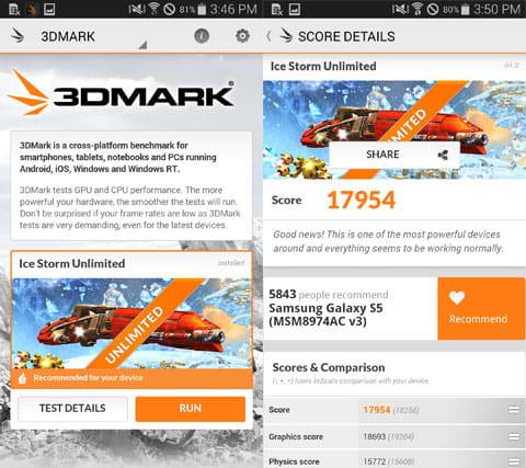 3DMark Ice Storm Benchmark:起動画面(左)スコア画面(右)
