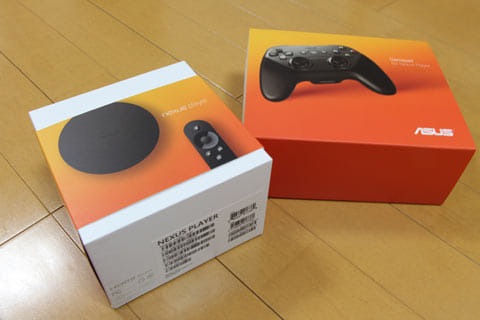 Nexus Player及びゲームパッドのパッケージ