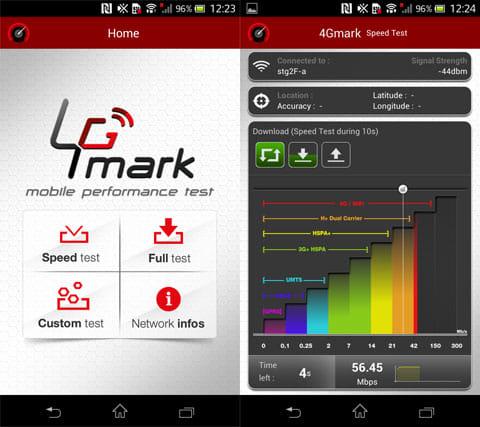 4Gmark (3G / 4G speed test):起動画面(左)回線速度を測定中(右)