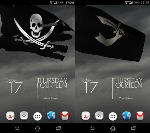 Pirate Flag Live Wallpaper:海賊旗をボロボロにしたり(左)デザインを変更することも可能(右)