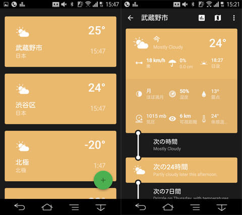 Weather Timeline - Forecast:現在地の天気(左)天気の詳細(右)