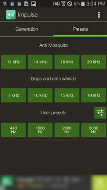 インパルス - 信号発生器:プリセットには犬笛もある