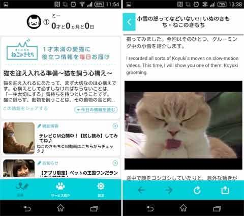 「まいにちのいぬ・ねこのきもち」犬猫に毎日役立つ!:飼ってい場合は上部に年齢に応じたコラムが紹介される(左)読み物だけでなく動画も視聴できるため一層癒やされる(左)