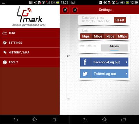 4Gmark (3G / 4G speed test):設定メニュー(左)設定画面(右)