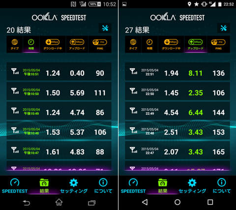 「Xperia J1 Compact x So-net PLAY SIM」(左)「VAIO Phone x 日本通信(b-mobile)」(右)