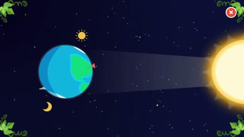 Star Walk™ Kids:カチンコのアイコンをタップすると、アニメーション動画で惑星などについて説明してくれる