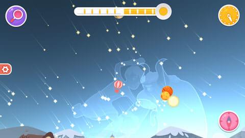 Star Walk™ Kids:右上の時計アイコンをタップすると、時間経過による星空の動きを見ることができる