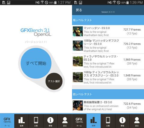 GFXBench GL Benchmark 3.1:ベンチマークスタート(左)結果画面(右)
