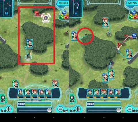 境界の黒翼 アサルトレイヴン:スワイプで敵ユニットまでなぞる(左)敵ユニットに向けて移動する(右)