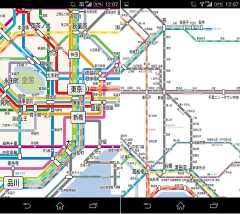 東京路線図:地図の移動はスワイプ、拡大・縮小はピンチイン・アウト操作で行う