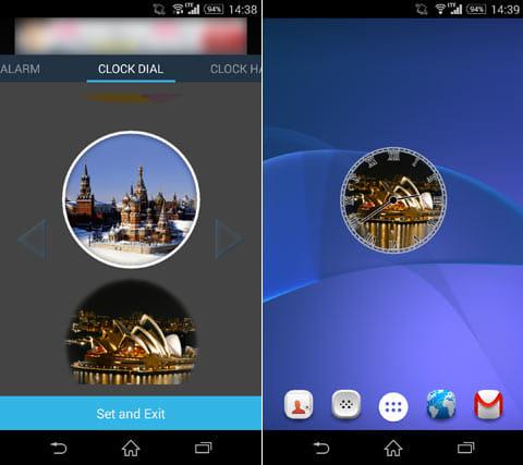 世界時計ウィジェット:設定画面(左)背景イラストを変更(右)