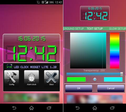 LED clock widget free:設定メニュー(左)各種の色変更が可能(右)
