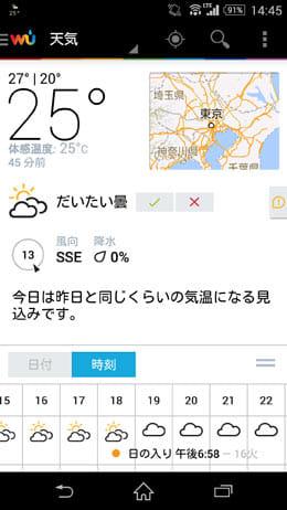 Weather Underground:1画面内に様々な情報が表示されている