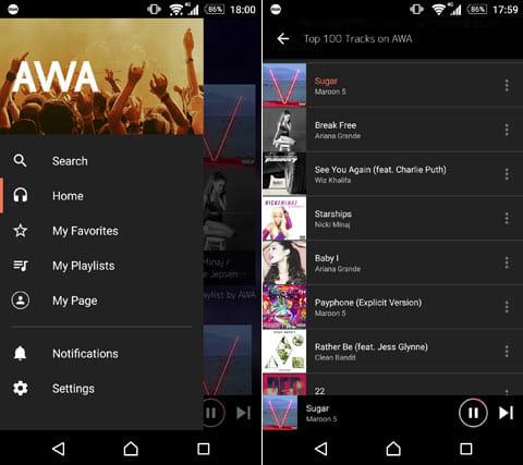 AWA Music - 音楽聴き放題(アワミュージック):メニュー画面(左)おすすめランキングから好きな楽曲を探そう(右)