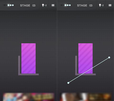 R.:紫のブロックを斬って落とす(左)斬るラインを指定しよう(右)