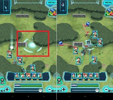 境界の黒翼 アサルトレイヴン:任意の位置を長押しする(左)味方ユニットが一斉に移動する(右)