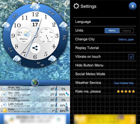 天気予報:地域の天気は画面下に表示される(左)設定画面。基本デフォルトでOK(右)
