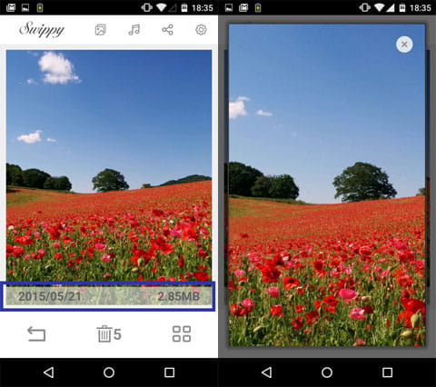 写真や画像を簡単整理♪-写真整理アプリSwippy:写真表示画面(左)写真プレビュー画面(右)