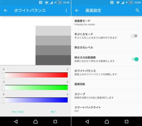 ディスプレイの設定画面。色温度の違いは「ホワイトバランス」設定で好みに調整可能