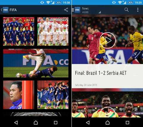 FIFA:「Photos」には様々な写真がアップされている(左)イチオシは「Videos」。ゴールシーンを見逃すな(右)