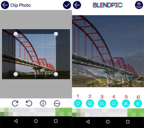BlendPic:Blend photo:写真トリミング(左)加工前画面(右)