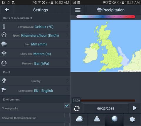Weather 14 days:設定画面(左)日本ではまだ未対応の「天気図」(右)