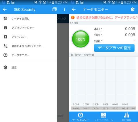 360 Security - アンチウイルス & ブースト:その他機能のメニュー(左)通信量のわかる「データモニター」(右)
