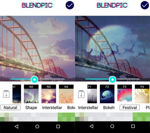 BlendPic:Blend photo:デザインエフェクト画像選択画面(左)透明度変更画面(右)