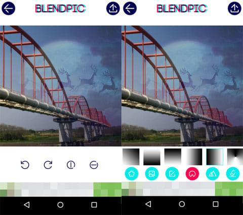 BlendPic:Blend photo:写真回転画面(左)グラデーション素材(右)