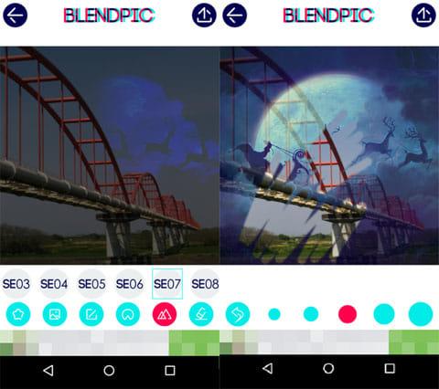 BlendPic:Blend photo:SE効果画面(左)消しゴム使用画面(右)