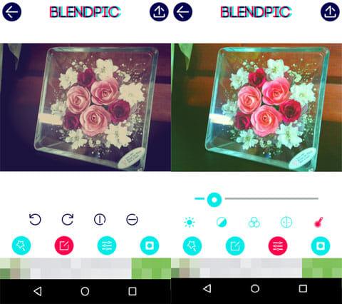 BlendPic:Blend photo:回転/反転画面(左)明るさやコントラスト調整画面(右)
