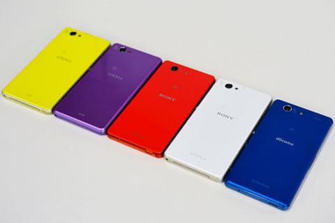 左からXperia Z1f、Xperia A2、Xperia Z3 compact、Xperia J1 Compact、そしてXperia A4