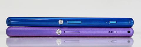 「Xperia A4」(上)は「Xperia A2」(下)より、0.6mmながら薄くなっえいる