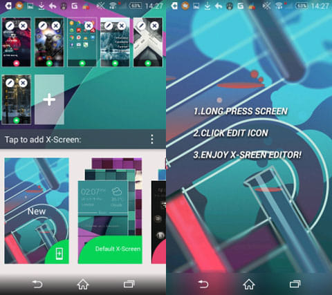 Launcher Lab - DIY Themes:Xスクリーンを追加(左)Xスクリーン編集メニュー(右)