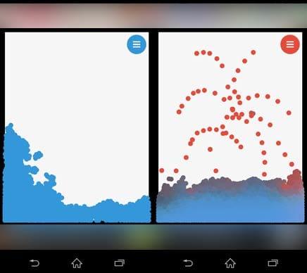 みずあそび 3 色鮮やかな水を自由に混ぜ合わせて遊ぼう!:水モードで描いた場合(左)異なる色で描いた場合(右)
