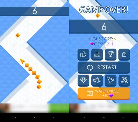 Arrow:体を回収していくと、蛇のように長くなっていく(左)ゲームオーバー。回収した体の数が表示される(右)