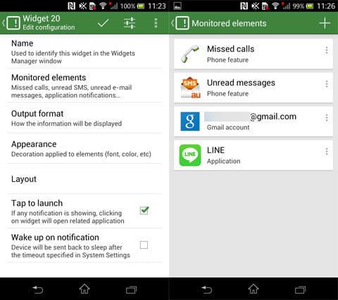 Missed It!:ウィジェットの設定画面(左)未読を監視したいアプリ(右)