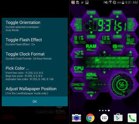 EVA System Monitor:設定画面(左)配色を初号機風に(右)