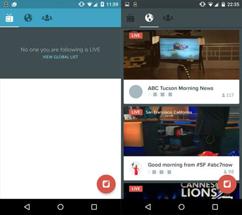 Periscope:アプリ起動初期画面(左)LIVE配信一覧画面(右)