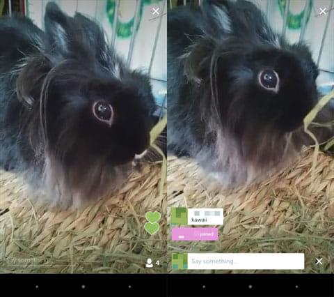 Periscope:イイね押下画面(左)コメント入力画面(右)