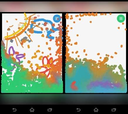 みずあそび 3|色鮮やかな水を自由に混ぜ合わせて遊ぼう!:「ゴミ箱」モードにした場合(左)「ゴミ箱」モードで消えてしまった絵(右)