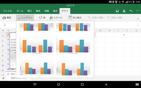 Microsoft Excel:グラフ画面